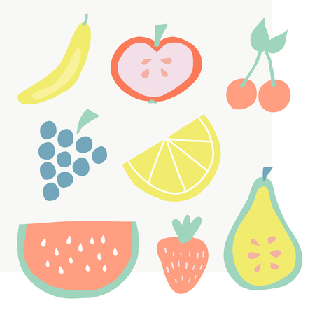 Set of summer fruit icons vector illustration. Citrus, tropical fruit slices. Simple flat Scandinavian style. Watermelon, banana, lemon, apple, cherry, grapes, pear, strawberry. Summer, Farmers market