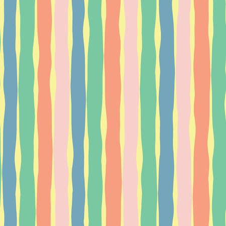 Vertical hand drawn lines seamless vector background. Pink coral yellow green blue blocks. Abstract pattern design. Texture for summer, spring, Easter, cards, fabric, digital paper, web banner, cover.