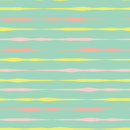 Horizontal hand drawn lines seamless vector background. Pink coral yellow lines on green. Abstract pattern design. Abstract geometric lines doodle background. Texture for summer, spring, Easter, cards