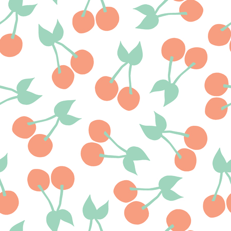 Cherries background. Vector seamless pattern with illustrated cherry fruits isolated on white. Food illustration. For card, menu cover, web pages, page fill, packaging, farmers market, summer fabric