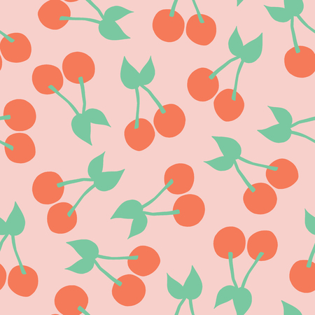 Cherries pattern. Vector seamless background with illustrated cherry fruits isolated on pink. Food illustration. For card, menu cover, web pages, page fill, packaging, farmers market, summer fabric