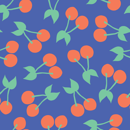 Cherries pattern. Vector seamless background with illustrated cherry fruits isolated on blue. Food illustration. For card, menu cover, web pages, page fill, packaging, farmers market, summer fabric Illustration