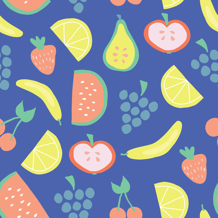 Seamless fruit pattern with bananas apples pear grapes lemons cherries strawberries watermelon on blue background. Juicy summer fruit cute vector design. Food illustration flat simple Scandinavian art Stock Photo