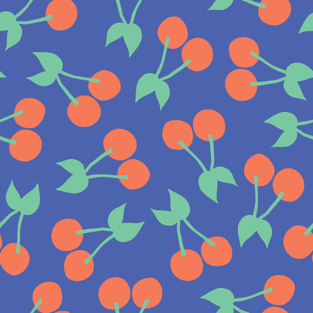 Cherries pattern. Vector seamless background with illustrated cherry fruits isolated on blue. Food illustration. For card, menu cover, web pages, page fill, packaging, farmers market, summer fabric Stock Photo