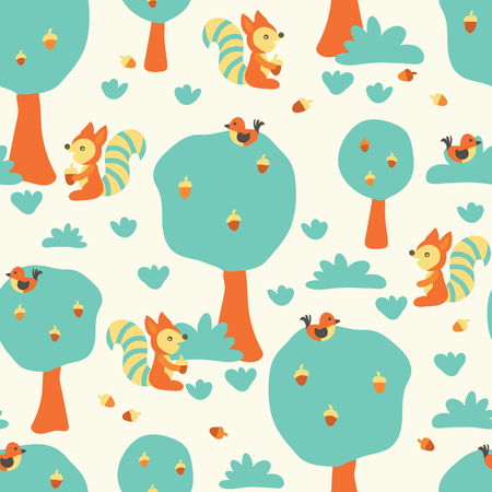 Cute squirrels and birds in the forest. Flat Scandinavian style. Seamless kids vector pattern for fabric, kids decor, gift wrapping, wallpaper, childrens room or clothing. Vector illustration Stockfoto - 126168768