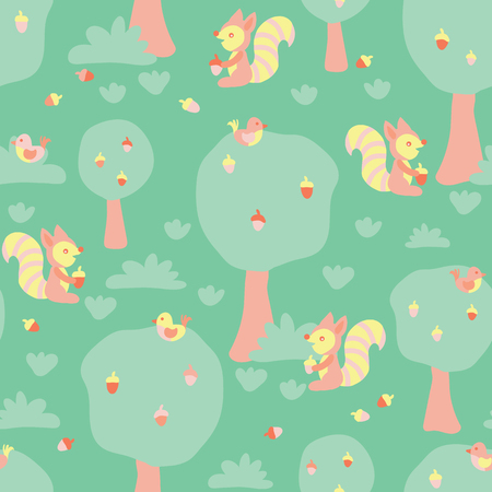 Cute kids pattern squirrels and birds in the forest. Flat Scandinavian style. Seamless vector pattern for fabric, kids decor, gift wrapping, wallpaper, childrens room or clothing. Vector illustration
