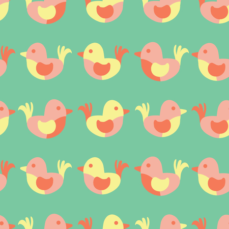 Cute birds seamless vector pattern. Simple birds in pastel colors. Green, pink, coral, yellow sparrows. Flat Scandinavian kids design for fabric, digital paper, children decor, nursery, Ester, spring