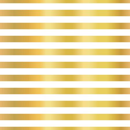 Gold foil stripes horizontal lines seamless vector pattern. Golden blocks on white background. Elegant luxury art for wedding, invitation, banner, party, birthday, Christmas, New Year, celebration Ilustrace