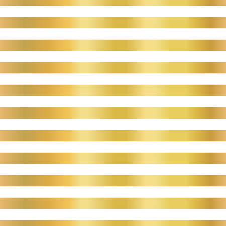 Gold foil stripes horizontal lines seamless vector pattern. Golden blocks on white background. Elegant luxury art for wedding, invitation, banner, party, birthday, Christmas, New Year, celebration Illustration