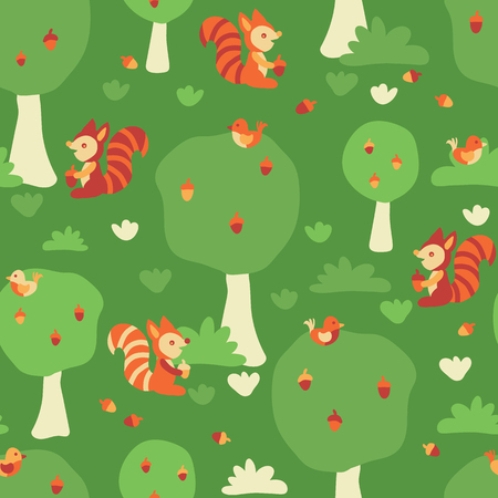 Seamless kids vector pattern. Cute squirrels and birds in the forest. Flat Scandinavian style. For fabric, kids decor, gift wrapping, wallpaper, childrens room or clothing. Vector illustration