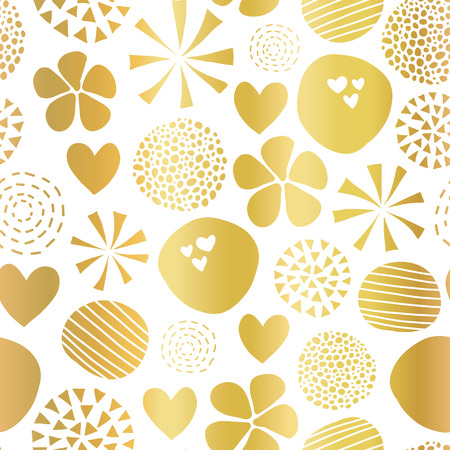 Gold foil abstract seamless vector pattern with flowers, dots, hearts on white background. Cute golden metallic foil feminine design for girl, women, digital paper, celebration, packaging, decor. Stock Photo
