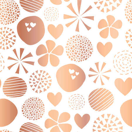 Copper foil abstract seamless vector pattern with flowers, dots, hearts on white background. Cute rose gold metallic foil feminine design for girl, women, digital paper, celebration, packaging, decor. Stock Photo
