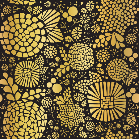 Gold foil mosaic flowers seamless vector background. Golden abstract florals and leaves on black background. Elegant, luxurious pattern for wallpaper, scrap booking, banner, packaging, wedding, party