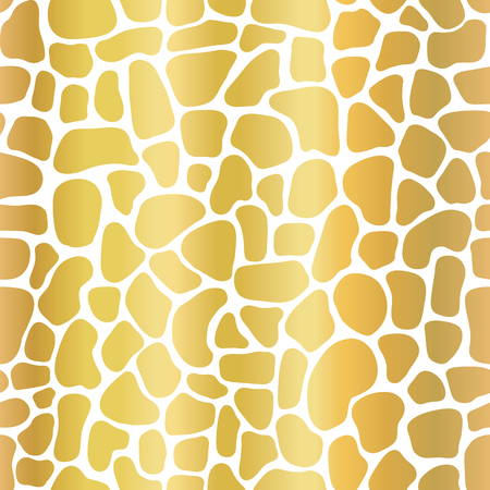 Gold foil abstract background with mosaic shapes. Seamless vector pattern stylized animal skin texture. Golden metallic shapes on white backdrop. Elegant art for celebration, digital paper, packaging Foto de archivo - 126081743