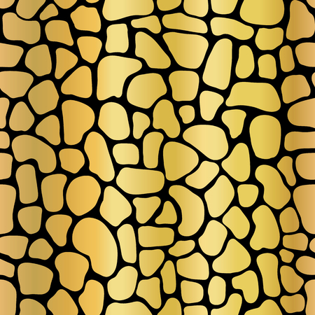 Golden metallic abstract background with mosaic shapes. Seamless vector pattern stylized animal skin texture. Gold foil shapes on black backdrop. Elegant art for celebration, digital paper, packaging Foto de archivo - 116266907