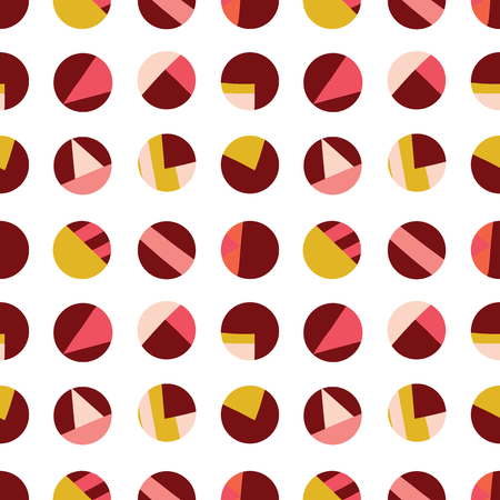 Circle collage seamless vector pattern. Contemporary collage of dots. Paper cut out style. Modern abstract background pink coral red gold white. Use for kids, fabric, decor, digital paper, decor.