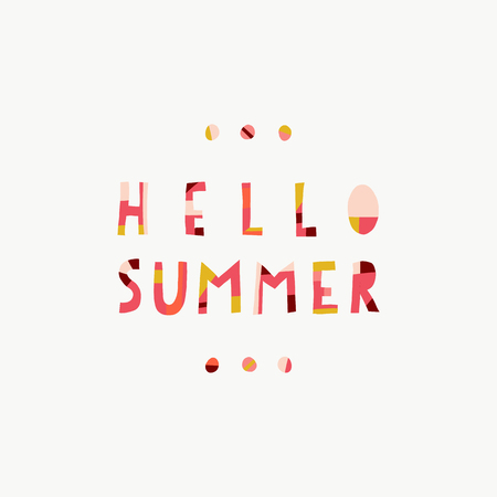 Hello Summer collage paper cut out style illustrated vector text in pink coral gold red. Contemporary collage style lettering. For seasonal greeting card design, women, girl, web banner, post, decor