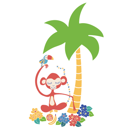 Monkey and toucan tropical vector illustration. Cute jungle animals sitting under a palm tree. Use for kids market, decor, stationary, summer.
