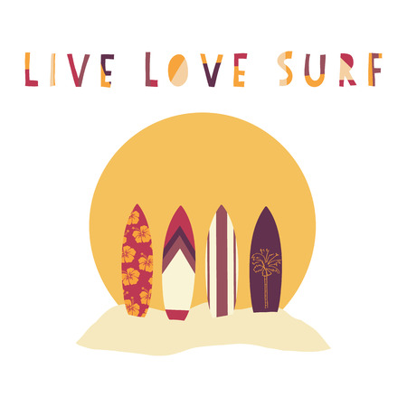 Live Love Surf hand drawn vector illustration. Surfboards in front of beach sunset. Surfing slogan: live, love and surf. Beach scene. Typography, t-shirt graphics, poster, banner, flyer, postcard. 写真素材