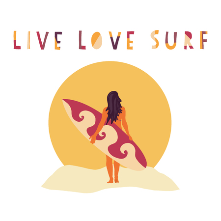 Live Love Surf Surfer girl hand drawn vector illustration. Woman with surfboard in front of beach sunset. Surfing slogan: live, love and surf. Typography, t-shirt, poster, banner, flyer, postcard. Фото со стока