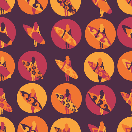 Surfer girl seamless vector pattern. Woman with surfboard illustration in circles purple pink orange background. Summer beach vacation design. Surf sport design banner, flyer, surf store, beach wear.  イラスト・ベクター素材