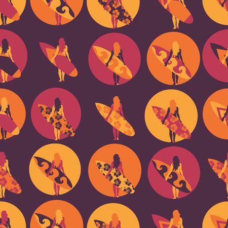 Surfer girl seamless vector pattern. Woman with surfboard illustration in circles purple pink orange background. Summer beach vacation design. Surf sport design banner, flyer, surf store, beach wear. 写真素材