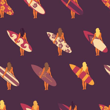 Surfer girl seamless vector pattern. Women holding surfboards illustration purple pink beige background. Summer beach vacation design. Surf sport design banner, flyer, surf store, beach wear.