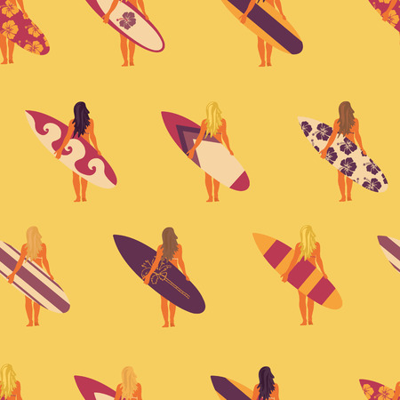 Summer Surfer girl seamless vector pattern. Women holding surfboards illustration yellow pink purple background. Summer beach vacation design. Surf sport design banner, flyer, surf store, beach wear.
