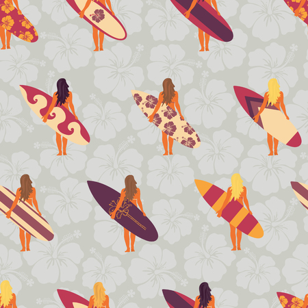 Summer Surfer girl seamless vector pattern. Women holding surfboards illustration hibiscus flower background. Summer beach vacation design. Surf sport design banner, flyer, surf store, beach wear.