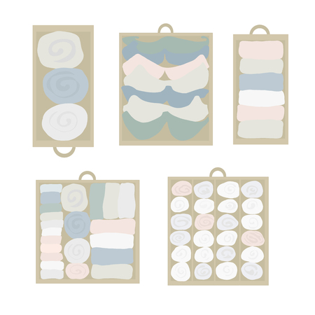 Drawer organization Vector icon set. Closet organization illustration. House keeping. Tidy up. Declutter and tidying up concept. Different drawers with folded clothes. Bras, socks, shirts in drawers