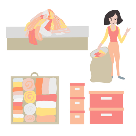 Tidy up and declutter concept vector icon set. Closet organization illustration. Woman with bag decluttering and tidying her clothes. Before after. Drawer with folded clothes. Storage boxes