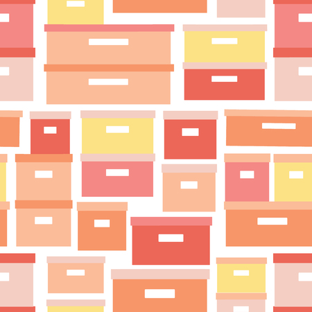 Storage boxes seamless vector pattern. Stacked cardboard storage boxes with closed lid background in coral yellow. Vector illustration closet organization. Tidy up. Declutter and tidying up concept