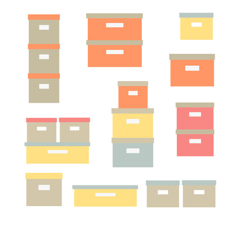 Storage boxes vector icon set. Stacked cardboard storage boxes with closed lid. Packaging collection. Vector illustration. Closet organization House keeping. Tidy up. Declutter and tidying up concept Ilustrace