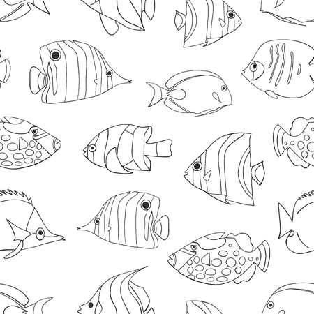 Tropical fish black on white seamless vector pattern. Swimming Butterflyfish, Clown Triggerfish, Damsel, Anemonefish, Angelfish, Clownfish background. Hand drawn marine underwater doodle backdrop