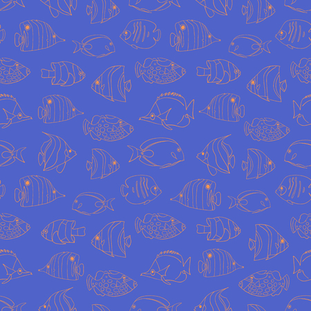 Seamless vector pattern Tropical fish coral on blue. Swimming Butterflyfish, Clown Triggerfish, Damsel, Anemonefish, Angelfish, Clownfish background. Hand drawn marine underwater doodle backdrop