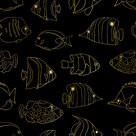 Gold foil Tropical fish on black seamless vector pattern. Swimming Butterflyfish, Clown Triggerfish, Damsel, Anemonefish, Angelfish, Clownfish background. Hand drawn marine underwater doodle backdrop