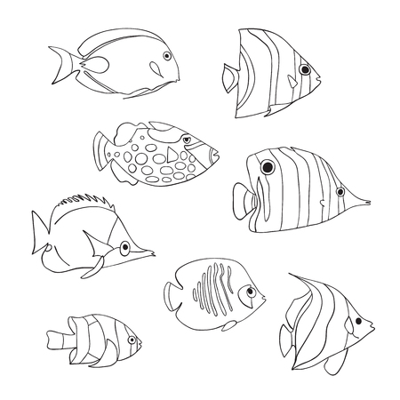 Tropical fish icon set. Vector isolated characters. Butterflyfish, Clown Triggerfish, Damsel, Anemonefish, Angelfish, Clownfish black white. Hand drawn marine underwater doodle animals. Coloring book. Stock Photo