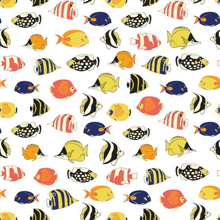 Exotic reef fish Seamless vector pattern. TRopical colorful fishes white background. Butterflyfish, Clown Triggerfish, Damsel, Anemonefish, Angelfish, Clownfish. Hand drawn marine underwater backdrop