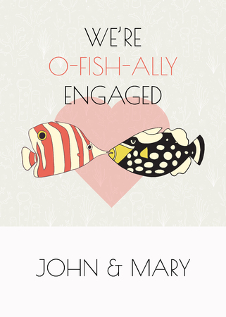 Engagement announcement vector card. Fun we are getting married pun design. Two kissing fishes in front of a heart. Triggerfish and butterflyfish. Card template. Engagement party invitation.