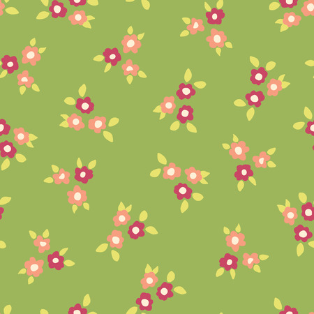 Scattered ditsy flowers green pink coral seamless vector pattern. Small folk florals repeating background. Coordinate for my Easter design. Fabric, girls, nursery, page fill, packaging, digital paper. Illustration