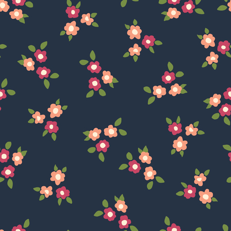 Scattered ditsy flowers seamless vector repeating background coral and pink on blue. Small folk florals pattern. Coordinate for my Easter design. Fabric, girls, nursery, page fill, packaging, paper