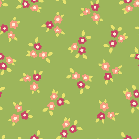 Scattered ditsy flowers green pink coral seamless vector pattern. Small folk florals repeating background. Coordinate for my Easter design. Fabric, girls, nursery, page fill, packaging, digital paper. Stock Photo