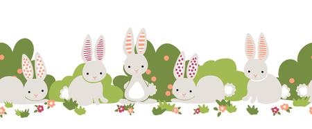 Bunny seamless vector border. Cute bunnies, flower bushes repeating background. Cartoon style rabbits kids design. For digital paper, kids decor, web banner, card, birthday invitation, spring, summer. Foto de archivo