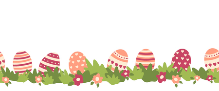 Easter eggs seamless vector border. Easter eggs, flower bushes repeating background. Cartoon style. Use as decoration for web banner, Digital paper, kids fabric, card decor, Easter card Çizim