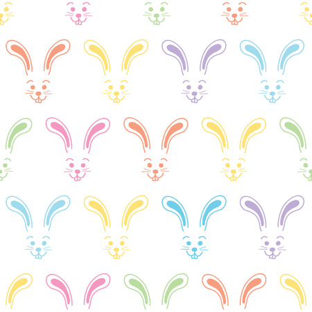 Easter bunny faces seamless vector background. Cute colorful bunny pattern. Simple rabbit illustration repeating tile. Use for Easter cards, spring, summer, kids fabric, decor, gift wrap, web banner. Çizim