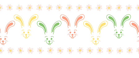Easter bunny faces seamless vector border. Cute colorful bunny pattern. Simple rabbit illustration repeating tile. Use for Easter cards, spring, summer, kids fabric, decor, gift wrap, decoration. Çizim