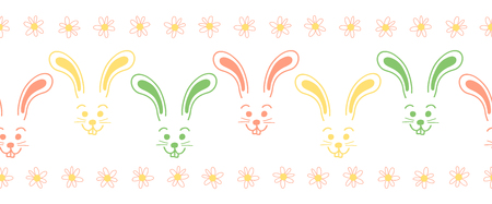 Easter bunny faces seamless vector border. Cute colorful bunny pattern. Simple rabbit illustration repeating tile. Use for Easter cards, spring, summer, kids fabric, decor, gift wrap, decoration. Reklamní fotografie