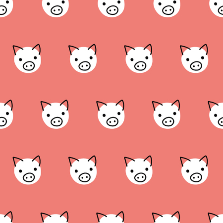 Seamless vector pattern repeat pigs. Cute polka dot pig faces background white on coral red. Geometric kids design. For fabric, kids decor, gift wrap, packaging, digital paper, nursery, new year card. Çizim