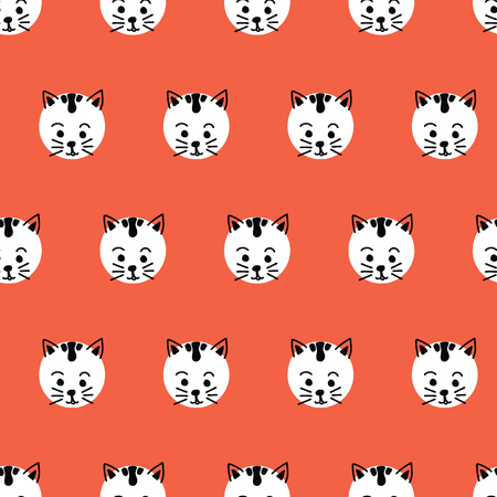Cats Kids polka dot seamless vector background. Cute kitty faces pattern black and white on red. Geometric fun kids design. Use for fabric, kids decor, gift wrap, packaging, digital paper, cards.