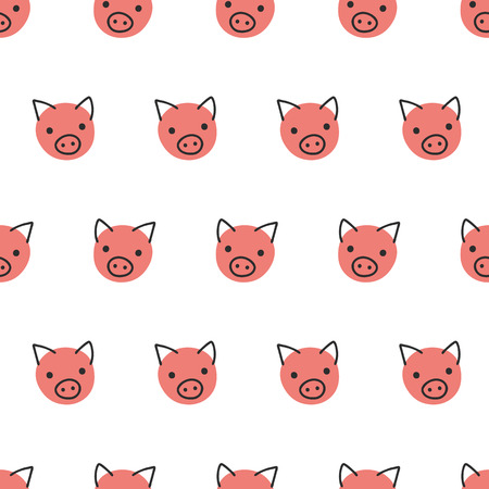 Pigs seamless vector background. Cute polka dot pig faces pattern coral pink on white. Geometric fun kids design. For fabric, kids decor, gift wrap, packaging, digital paper, nursery, new year card.